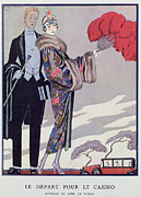 Fur Coat Framed Prints - Leaving for the Casino Framed Print by Georges Barbier