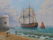 Warship Painting Posters - Leaving Portsmouth Harbour Poster by Elaine Jones