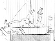 Sails Drawings - Leaving the Dock by Jeff Lambert