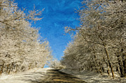 Snowy Road Posters - Leaving Winter Behind Poster by Lois Bryan