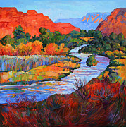 Zion National Park Painting Prints - Leaving Zion II Print by Erin Hanson