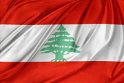 Lebanese Flag Print by Les Cunliffe