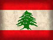 Lebanon Prints - Lebanon Flag Vintage Distressed Finish Print by Design Turnpike