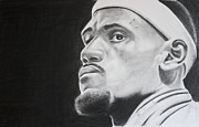 Lebron Drawings Framed Prints - LeBron Framed Print by Don Medina