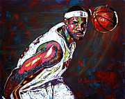 Miami Heat Painting Prints - LeBron James 2 Print by Maria Arango