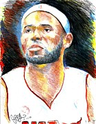 Miami Heat Drawings Prints - Lebron James  Print by Jon Baldwin  Art