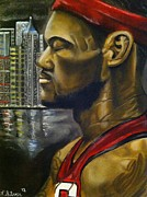 Miami Heat Drawings Prints - Lebron James Print by Larry Silver