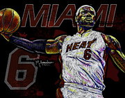 Miami Heat Posters - LeBron James Poster by Maria Arango