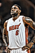 Lebron Metal Prints - LeBron James Miami Heat Metal Print by Carlos Diaz