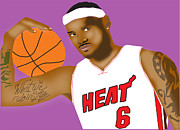 Lebron Metal Prints - Lebron James Metal Print by Michael Chatman