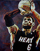 Miami Heat Painting Prints - LeBron James MVP Print by Maria Arango