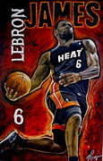 Nba Framed Prints - Lebron James Oil Painting-Original Framed Print by Dan Troyer
