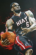 Dunking Mixed Media Prints - Lebron James on Fire Print by Ryan Doray