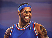 Baseball Player Painting Framed Prints - LeBron James  Framed Print by Paul  Meijering