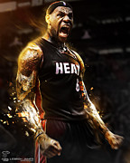Miami Heat Posters - LeBron James Poster Poster by Sanely Great