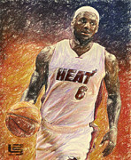 Miami Heat Drawings Prints - Lebron James Print by Taylan Soyturk