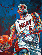 Miami Heat Painting Prints - LeBron King James Print by Maria Arango
