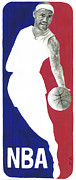 Sports Art Painting Posters - Lebron NBA Logo Poster by Tamir Barkan