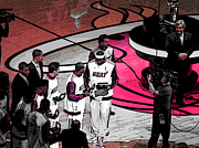 Miami Heat Posters - LeBrons 1st Ring Poster by J Anthony