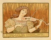 French Poster Posters - Lecons de Violon Poster by Sanely Great