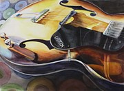 Guitar Painting Originals - Lectric by Donna MacLure