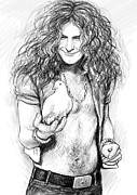 Led Zeppelin Drawings - LED ZEPPELIN art drawing sketch portrait by Kim Wang