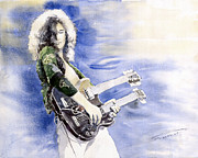 Emotion Paintings - Led Zeppelin Jimi Page by Yuriy  Shevchuk