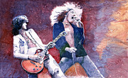 Watercolor  Paintings - Led Zeppelin Jimmi Page and Robert Plant  by Yuriy  Shevchuk