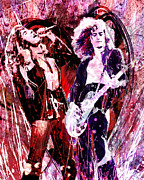 Original Robert Plant Paintings - Led Zeppelin - Jimmy Page and Robert Plant by Ryan Rabbass