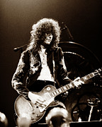 Live Music Metal Prints - Led Zeppelin - Jimmy Page Metal Print by Chris Walter