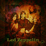 Rock And Roll Heaven Framed Prints - Led Zeppelin - Kashmir Framed Print by Absinthe Art By Michelle LeAnn Scott