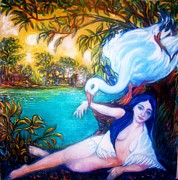 Woman Mixed Art  Giclee Prints Posters - Leda and the Swan Poster by Gunter  Hortz