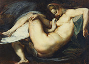 Leda Painting Posters - Leda And The Swan Poster by Rubens