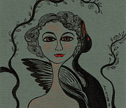 Leda And The Swan Prints - Leda Print by Sue Wright