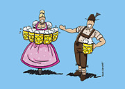 Cheers Drawings Framed Prints - Lederhosen Man Welcomes Oktoberfest Beer Waitress Framed Print by Frank Ramspott