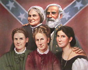 Confederacy Pastels Prints - Lee and His Ladies Print by Janet McGrath