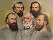Civil Pastels Framed Prints - Lee and His Valiant Men Framed Print by Janet McGrath