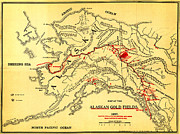 Old Map Paintings - Lees Map of the Alaskan gold fields 1897 by MotionAge Art and Design - Ahmet Asar