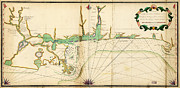 Old Map Paintings - Lefargues Map of the Louisiana Coast 1768 by MotionAge Art and Design - Ahmet Asar