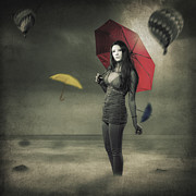 Umbrella Posters - Left Alone Poster by Erik Brede