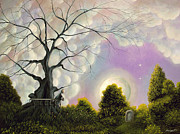 Gothic Painting Originals - Left Behind. Fantasy Landscape Fairytale Art By Philippe Fernandez by Philippe Fernandez