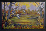 Crossbill Painting Originals - Left Here by Rudolph Bajak
