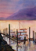 Docked Boat Painting Prints - Left to Rust Print by Sandy Linden