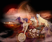 Howling Wolf Posters - Legend Of Wolf Mountain Poster by Carol Cavalaris
