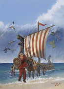 Viking Ship Paintings - Legendary Viking by Rob Corsetti