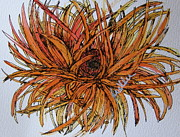 Gerbera Drawings - Leggy Gerber by Marcia Weller-Wenbert