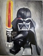 Darth Vader Paintings - Lego Darth Vader by Nancy Mitchell