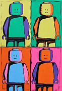 Lego Painting Prints - Lego Pop Art Man Print by Kaz Innes