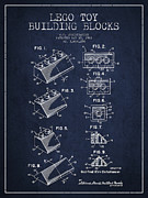 Lego Toy Building Blocks Patent - Navy Blue Print by Aged Pixel