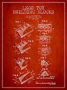 Lego Toy Building Blocks Patent - Red Print by Aged Pixel